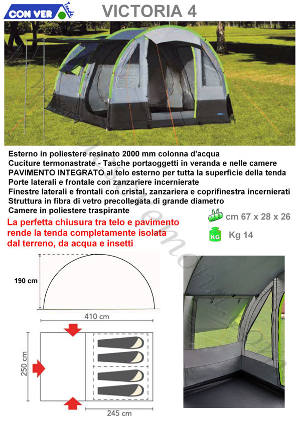 Tenda igloo VICTORIA 4 Conver grigio verde