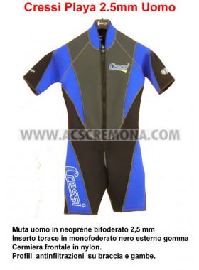Muta shorty uomo Cressi Playa man 2.5 mm bifoderata tg. M