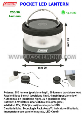 Lampada Pack-Away Pocket LED Lantern Coleman ricaricabile