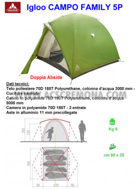 Tenda Igloo VAUDE CAMPO FAMILY green