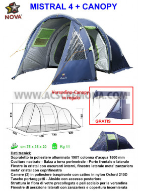 Tenda Igloo MISTRAL 4 Nova Outdoor + CANOPY OMAGGIO