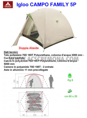 Tenda Igloo CAMPO FAMILY VAUDE sand