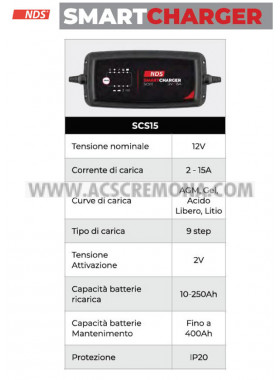 CARICABATTERIA NDS SMART CHARGER SCS15