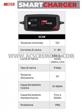 CARICABATTERIA NDS SMART CHARGER SCS8