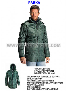 Giaccone PARKA NORMAL VERDE termico impermeabile