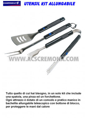 SET BARBECUE ATTREZZI MANICO ALLUNGABILE KIT CAMPINGAZ