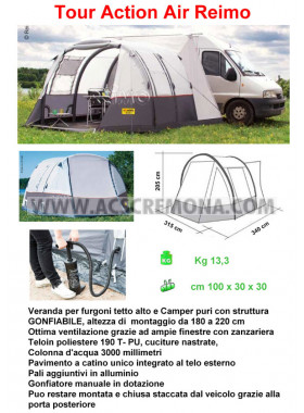 Veranda REIMO TOUR ACTION AIR camper e furgoni tetto alto