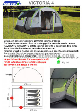 Tenda igloo VICTORIA 4 Conver grigio-verde